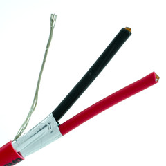 Shielded Plenum Fire Alarm / Security Cable, Red, 12/2 (12 AWG 2 Conductor), Solid, FPLP, Spool, 1000 foot - Part Number: 11F8-5271NH
