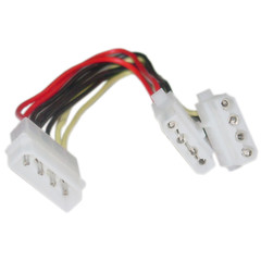 4 Pin Molex Power Y Cable, 5.25 inch Male to Dual 5.25 inch Female, 8 inch - Part Number: 11W3-01208