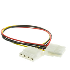 4 Pin Molex Cable, 5.25 inch Female to 5.25 inch Female, 12 inch - Part Number: 11W3-04412