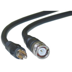 RG59U Coaxial BNC to RCA Video Cable, Black, BNC Male to RCA Male, 75 Ohm, 64% Braid, 25 foot - Part Number: 11X1-02125