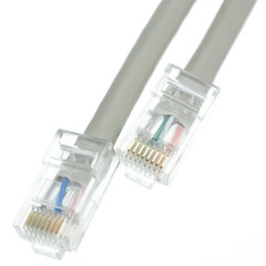 Plenum Cat5e Gray Ethernet Patch Cable, CMP, 24 AWG, Bootless, 1 foot - Part Number: 11X6-12101
