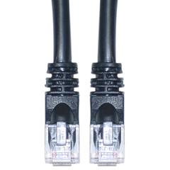 Cat6a Black Ethernet Patch Cable, Snagless/Molded Boot, 500 MHz, 3 foot (Box of 300) - Part Number: KIT-13X6-02203