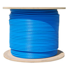 Bulk Cat6a Blue Ethernet Cable, 10 gig Solid, UTP (Unshielded Twisted Pair), 500Mhz, 23 AWG, Spool, 1000 foot - Part Number: 13X6-061NH