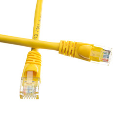Cat6a Yellow Ethernet Patch Cable, Snagless/Molded Boot, 500 MHz, 2 foot - Part Number: 13X6-08102