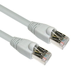Shielded Cat6a Gray Ethernet Patch Cable, Snagless/Molded Boot, 500 MHz, 100 foot - Part Number: 13X6-521HD