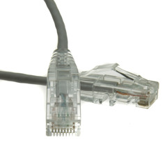 Cat6a Gray Slim Ethernet Patch Cable, Snagless/Molded Boot, 5 foot - Part Number: 13X6-62105