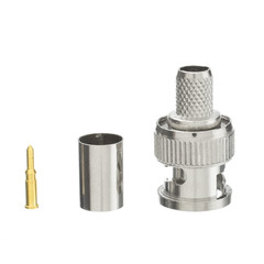 BNC Male Crimp Connector for RG6, 3 Piece - Part Number: 200-141