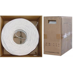 Bulk RG6U Coaxial Cable, White, 18 AWG Pure Copper Solid Core, 3 GHz, Pullbox, 1000 foot - Part Number: 10X4-2091TH