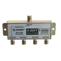 F-Pin Coaxial Splitter, 4 Way, 2 GHz 90 dB, DC Passing on One Port - Part Number: 201-234