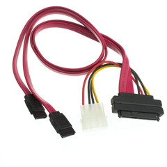 SAS 29 Pin (SFF-8482) to Dual lane SATA Data and Molex Power Cable, 20 inch - Part Number: 23SA-01110