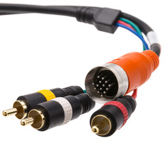 EZ Pull Orange Male to 3 RCA (Composite Video and Stereo Audio) Male Adapter Cable 3 foot - Part Number: 25R3-03103