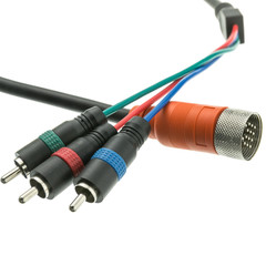 EZ Pull Orange Male to 3 RCA (RGB Component Video) Male Adapter Cable 1 foot - Part Number: 25R3-15101