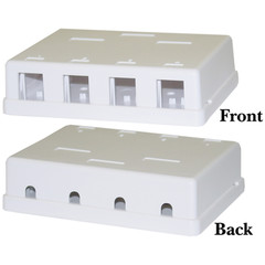 Blank Surface Mount Box for Keystones, 4 Hole, White - Part Number: 300-3144E