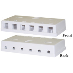 Blank Surface Mount Box for Keystones, 6 Port, White - Part Number: 300-3146E