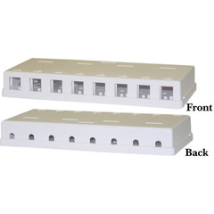 Blank Surface Mount Box for Keystones, 8 Port, White - Part Number: 300-3148E