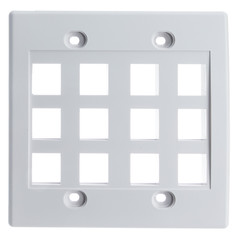 Keystone Wall Plate, White, 12 Hole, Dual Gang - Part Number: 301-12K-W