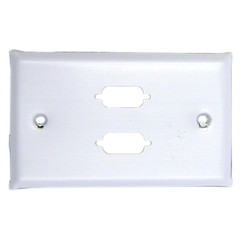 Wall Plate, White, 2 Port DB9 / HD15 (VGA), Single Gang, Painted Stainless Steel - Part Number: 301-2-9