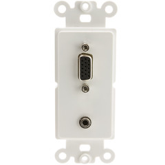 Decora Wall Plate Insert, White, VGA (HD15) Coupler and 3 inch 3.5mm Stereo Coupler, HD15 Female and 3.5mm Stereo Female - Part Number: 301-2000