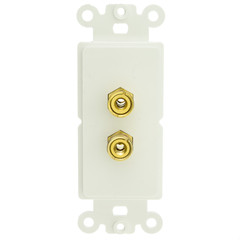 Decora Wall Plate Insert, White, 2 Banana Plug Binding Posts - Part Number: 301-2001