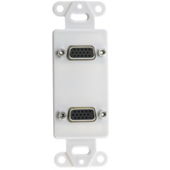 Decora Wall Plate Insert, White, Dual VGA Couplers, HD15 Female - Part Number: 301-2004