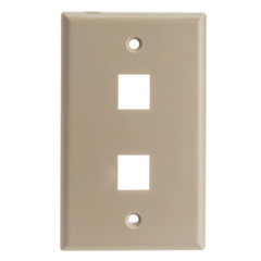 Keystone Wall Plate, Beige, 2 Port, Single Gang - Part Number: 301-2K