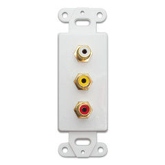 Decora Wall Plate Insert, White, 3 RCA Couplers (Red/White/Yellow), RCA Female - Part Number: 301-3000