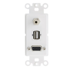 Decora Wall Plate Insert, White, VGA Coupler, 3.5mm Stereo Jack and  USB Type A Coupler, HD15 Female, 3.5mm Female and USB Type A Female - Part Number: 301-3001