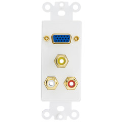 Decora Wall Plate Insert, White, 1 VGA Coupler and 3 RCA Couplers (Red/White/Yellow), HD15 Female and RCA Female - Part Number: 301-4001