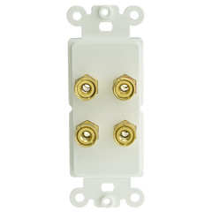Decora Wall Plate Insert, White, 4 Banana Plug Binding Posts For 2 Speakers - Part Number: 301-4002