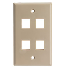 Keystone Wall Plate, Beige, 4 Port, Single Gang - Part Number: 301-4K
