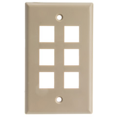 Keystone Wall Plate, Beige, 6 Hole, Single Gang - Part Number: 301-6K
