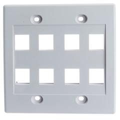 Keystone Wall Plate, White, 8 Hole, Dual Gang - Part Number: 301-8K-W