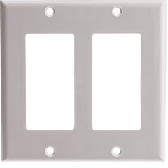 Decora Wall Plate, White, 2 Hole, Dual Gang - Part Number: 302-2-W