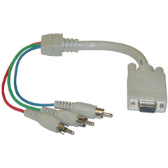 VGA to Component Video Adapter, HD15 Female to 3 x RCA Male (RGB), 1 foot * Not For Computer Use - Part Number: 30H1-50300