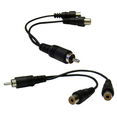 RCA Splitter / Adapter, RCA Male to Dual RCA Female, 6 inch - Part Number: 30R1-03360