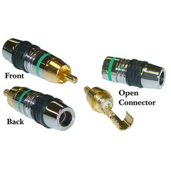 Premium RCA Connector for 7mm Coaxial Cable, Green Band, 24K Gold, Solder Type - Part Number: 30R4-0100GR