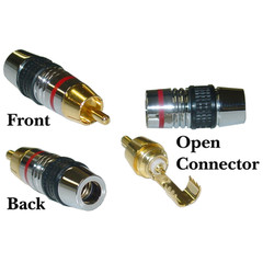 Premiem RCA Connector for 7mm Coaxial Cable, Red Band, 24K Gold, Solder Type - Part Number: 30R4-0100RD