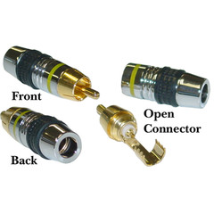 Premium RCA Connector for 7mm Coaxial Cable, Yellow Band, 24K Gold, Solder Type - Part Number: 30R4-0100YL