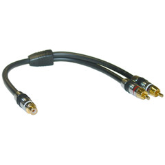 Premium RCA Y Cable, 24K Gold, RCA Female to Dual RCA Male, 1 foot - Part Number: 30R4-03300