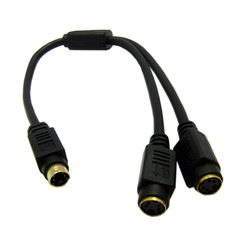 S-Video Y Cable, S-Video (miniDin4) Male to Dual S-Video (miniDin4) Female, 1 foot - Part Number: 30S2-12101