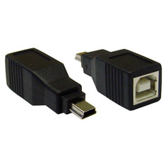USB B Female to USB Mini-B 5 Pin Male Adapter - Part Number: 30U1-08300