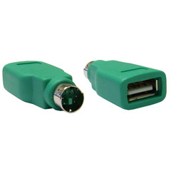 USB to PS/2 Keyboard/Mouse Adapter, Green, USB Type A Female to PS/2 (MiniDin6) Male - Part Number: 30U2-26300