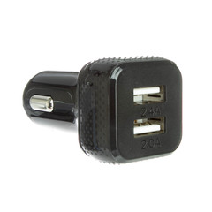 2 Port USB Car Charger, Black, 4.4 Amp Output  - Part Number: 30W1-33200