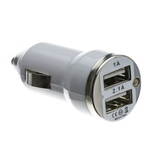 2 Port USB Car Charger, White, 3.1 Amp Output - Part Number: 30W1-33210