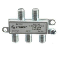 F-Pin Coaxial Splitter, 4 Way - Part Number: 30X4-03204