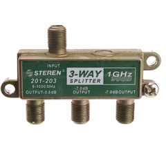 F-pin Coaxial Splitter, 3 Way, 1 GHz 90 dB - Part Number: 30X4-13203