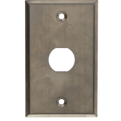 Outdoor Wall Plate w/ Water Seal, Stainless Steel , 1 Port, Single Gang - Part Number: 30X8-71001