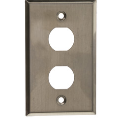 Outdoor Wall Plate w/ Water Seal, Stainless Steel , 2 Port, Single Gang - Part Number: 30X8-71002