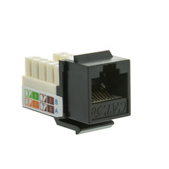 Cat5e Keystone Jack, Black, RJ45 Female to 110 Punch Down - Part Number: 310-120BK