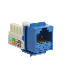 Cat5e Keystone Jack, Blue, RJ45 Female to 110 Punch Down - Part Number: 310-120BL